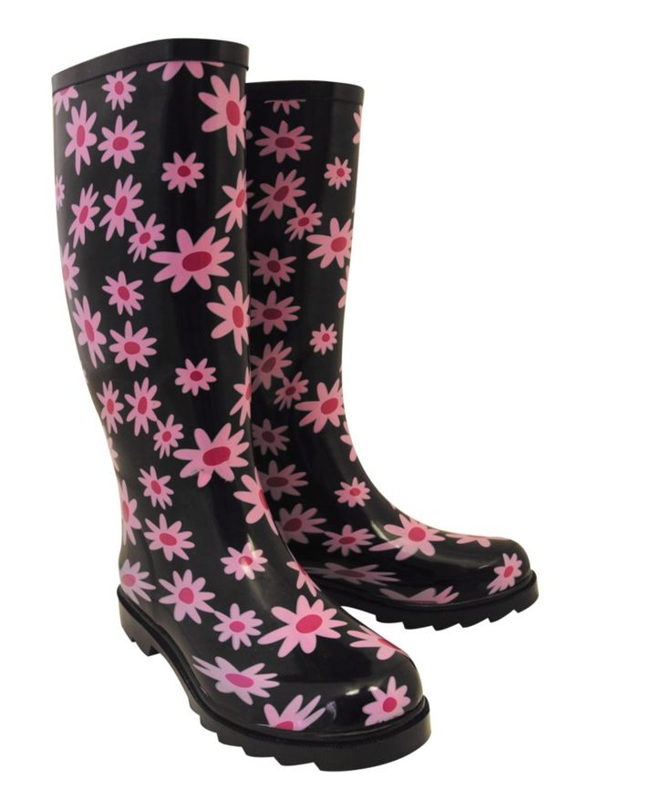 LADIES BLACK PINK FLORAL WELLINGTON BOOTS WELLIES WINTER FLOWER SHOE FT447 | eBay