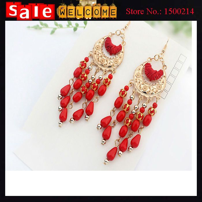 Golden Pattern With Rope Big Earrings for Weddings Party,Red Blue White Black Beads  Gold Plated Hollow Long Tassel Earrings