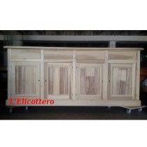 Credenza in legno massello grezzo in pioppo con 4 ante e 4 cassetti