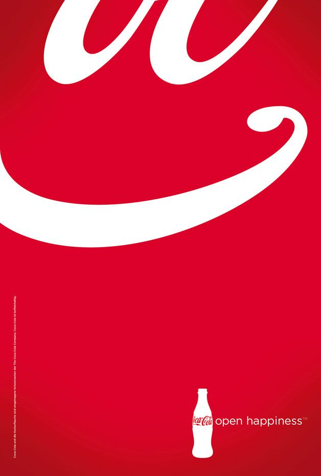 """Coke is always very creative with their advertisements.  I especially like this one because you can still tell it is a Coke ad just by the colors and overall look without looking at the bottom right.  Coke always reaches out to its customers and makes them feel like they care about them.  I really like the """"open happiness"""" at the bottom."""