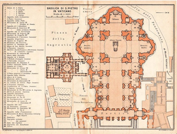 Saint Peter's Basilica Architectural Floor Plan Vatican City, central isle added to Michelangelo's dome by Carlo Moderno, 17th century