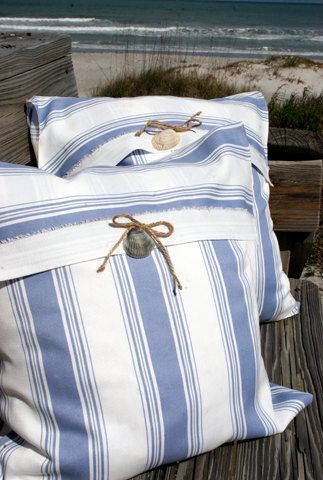 Classic, clean and crisp this refreshing decorative pillow will look lovely anywhere in your home. This beautiful white and blue striped envelope
