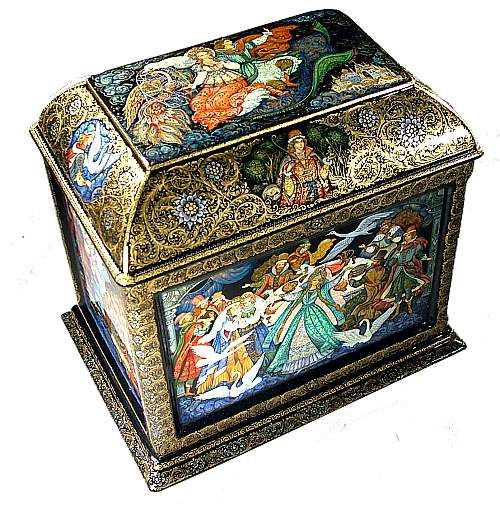 """""""Favorite Fairy Tales"""", Palekh Lacquered box  Each side of the box has an exquisite illustration of one of the Russian folk tale (see below each side)"""