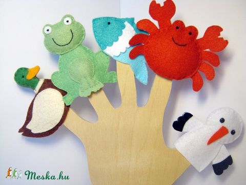 Filc ujjbáb csomag -Élet a tóban, Baba-mama-gyerek, Játék, Baba-mama kellék, Báb, Meska