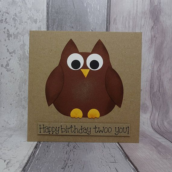 Handmade funny owl birthday card. This 3D owl card (which could be a barn owl) with a pun can be personalised with your choice of message, name or age. This birthday card with a pun has a cute brown owl. The sentiment on this Happy Birthday card is added with 3D foam and reads: Happy birthday twoo you! This message can be changed, please just select the message you would like from the drop-down menu and add any personalisation (age, name or an alternative message) in the Note to Seller…