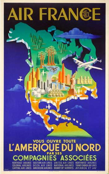 42 best Affiches tourisme   serie Air France images on Pinterest - new air france world map flight routes c.1948