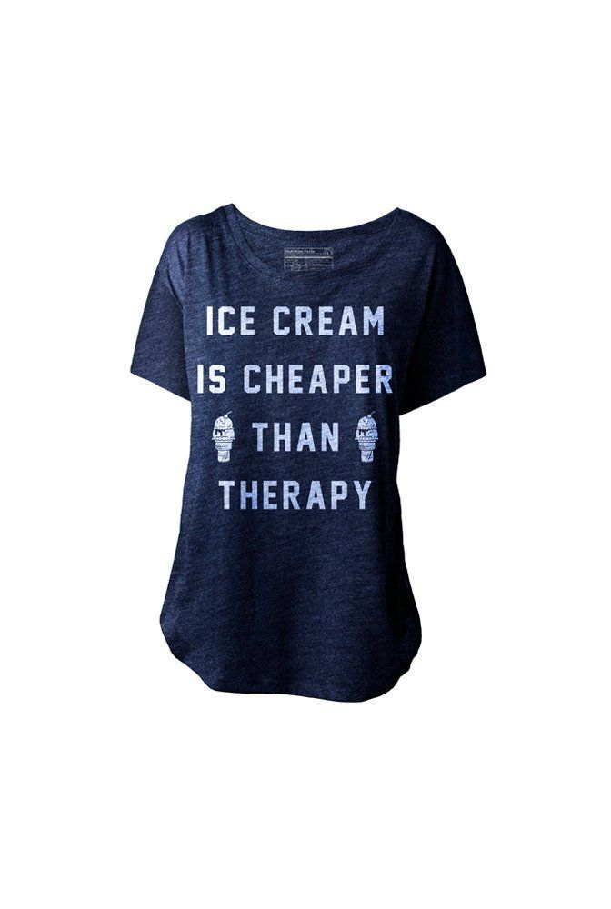 Fancy - Ice Cream is Cheaper Than Therapy T-Shirt by Pyknic
