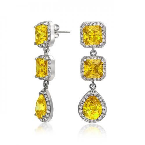 Yellow Citrine Color CZ Princess Cut Teardrop Chandelier Earrings