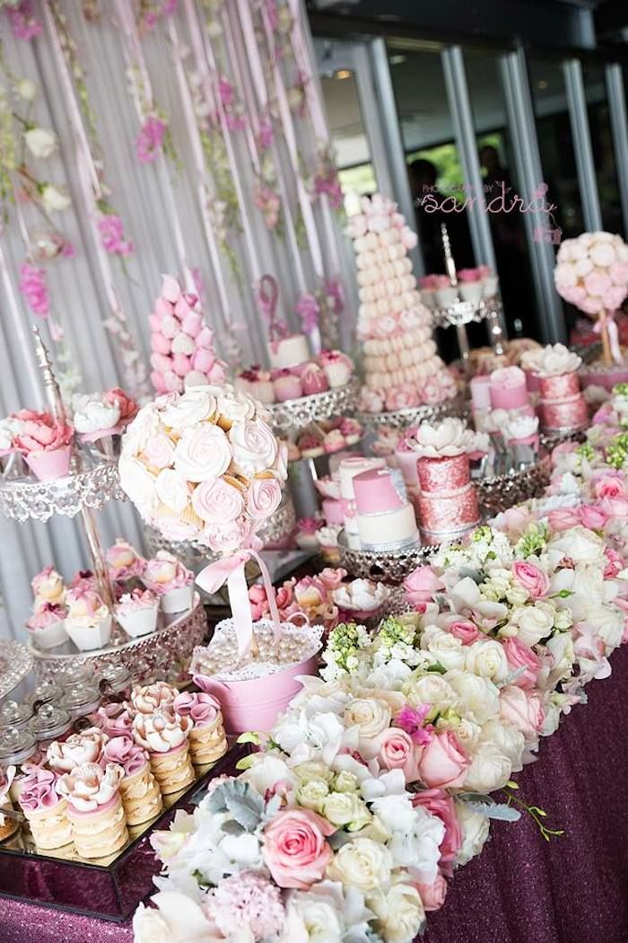 pink floral princess birthday party via karas party ideas karaspartyideascom pink dessert tablespink