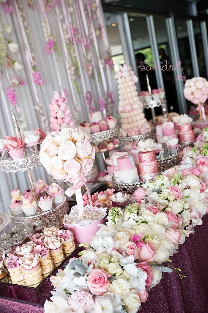 Pink Floral Princess birthday party via Kara's Party Ideas KarasPartyIdeas.com Cake, decor, favors, supplies, desserts, food, invitation, tutorials, and more! #princessparty #princessbirthdayparty #floralprincess #floralprincessparty (7)