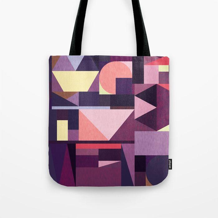Kaku Purples Tote Bag by Fimbis  Purple, pattern, violet, geometric, abstract art, bags, shopping,