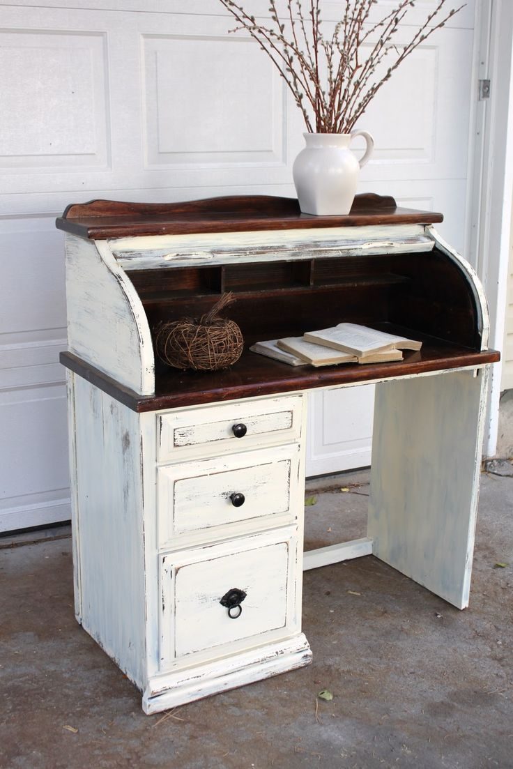 Distressed Roll Top Desk White Painted Dresser Furniture