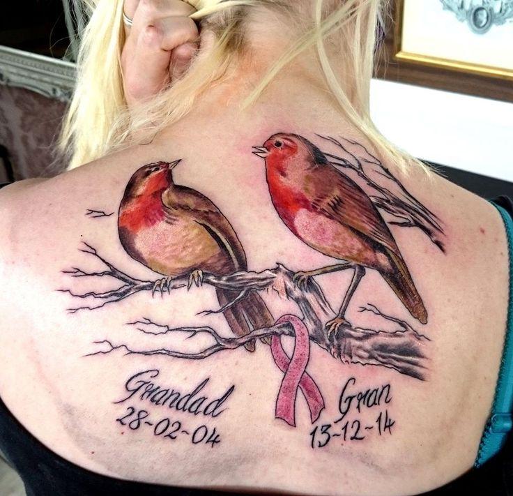 Robin Back Piece by Thrax #devilsown #devilsowntattoos #leicester #leicestertattoo #robin #robins #birds #tree #breastcancer #ribbon #script #memorium #birdtattoo #robintattoo