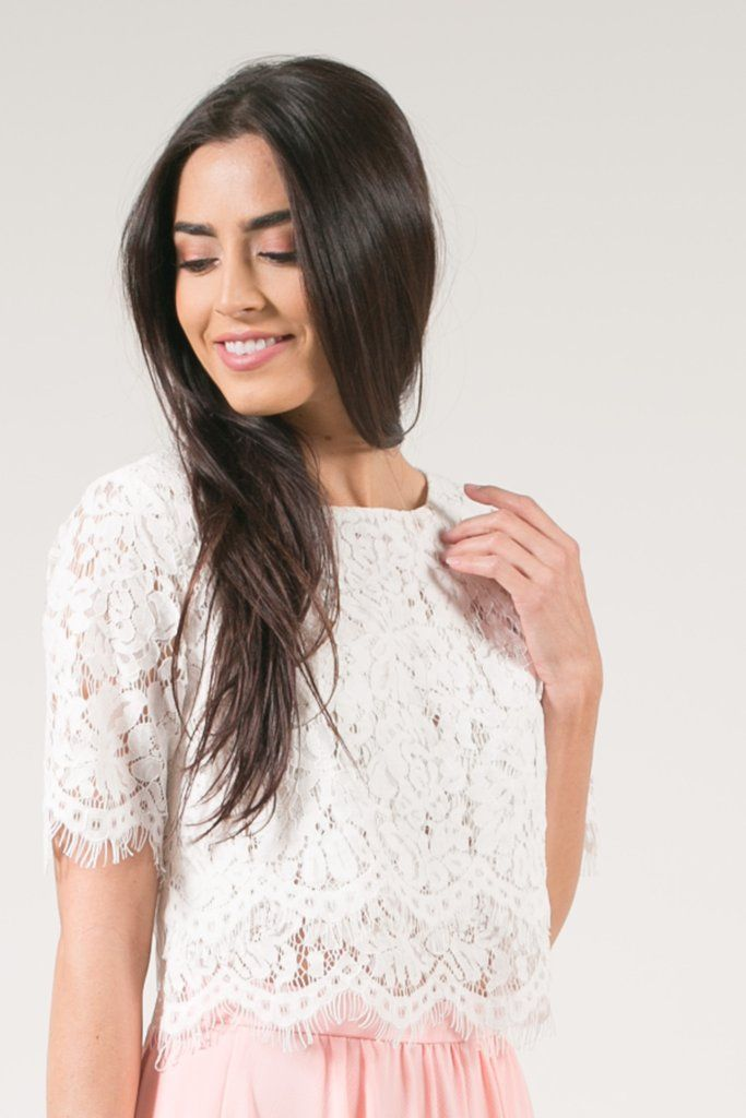 Jaylyn Floral Lace Crop Top - White, feminine fashion, womens fashion, scallop lace crop top, bridesmaid outfit inspirations, bridesmaid separates