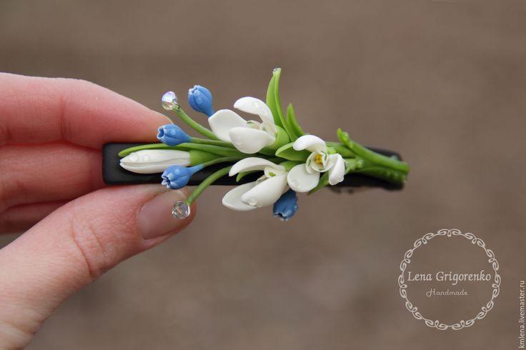 """Купить Заколка """"Весенний дуэт"""" - подарок девушке, 8марта, украшение на шею, украшение с цветами, подснежники"""