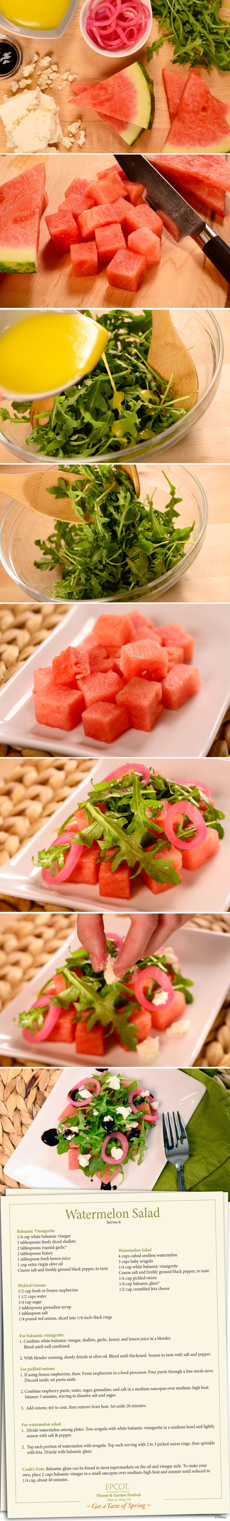 This year the Epcot Flower and Garden Festival is offering something for the taste buds.  Here is a DIY Recipe of a very tasty Watermelon Salad…Enjoy!