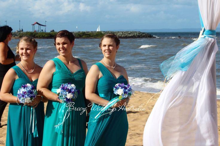 Aqua blue beach themed ceremony Suttons Beach Redcliffe  Styling by www.breezeweddings.com.au #redcliffewedding #suttonsbeachwedding #beachwedding #breezeweddingsaustralia #suttonsbeach #wedding #australia #australiawedding #bambooarch #chuppah #свадьба #свадьбававстралии #свадьбанапляже #barefootwedding   #aquabluewedding