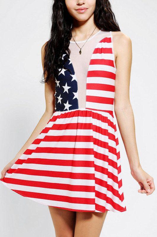 Super Cute Stars And Stripes American Flag Skater by ElasticWonder, $140.00.