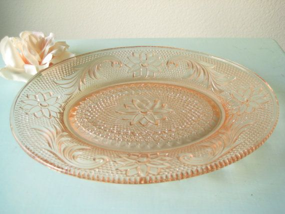 Original Sandwich Glass Pink Depression Glass 1930s Oval Plate / Pink Side Plate