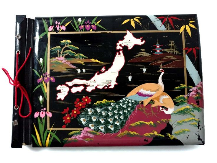 Japanese Black Lacquer Photo Album Scrapbook 1950's Asian Home Accent Map of Japan Hand Painted Peacocks Scene Corner Mounts Tokyo by CollectionSelection on Etsy