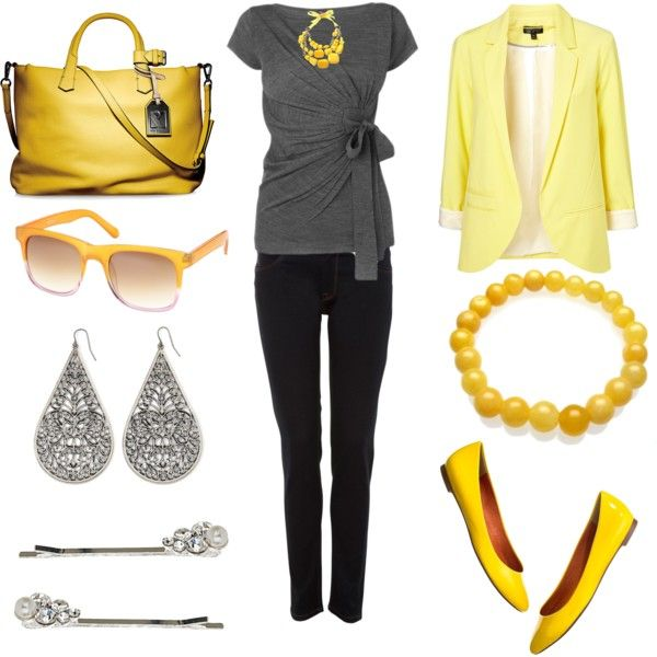 .: Gray Outfit, Fashion Style, Design Handbags, Yellow Outfit, Women'S Jeans, Clothing Purses Shoes Jewelry, Yellow Blazers, Gray Yellow, Clothing Jackets