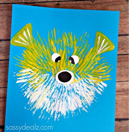 Kid's Puffer Fish Craft Using a Fork - Crafty Morning With links to more fork paintings. Chick, lion, dandelions, fireworks