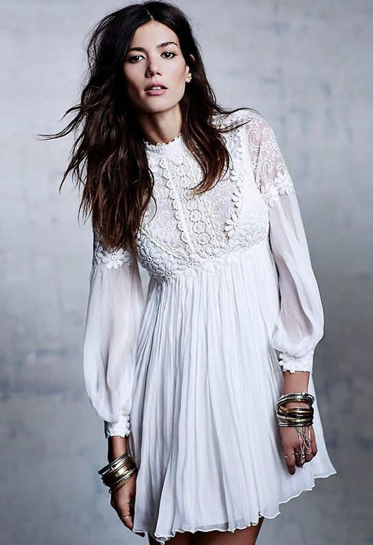 White Long Sleeve Embroidered Bead Lace Dress - abaday.com