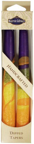 Majestic Giftware SC-HRT7-P Safed Taper Candle, 7.5-Inch, Harmony Purple, 2-Pack