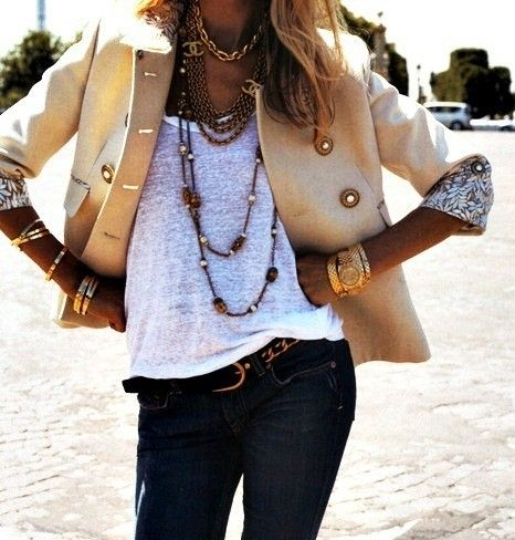 Accessorize Accessorize: Outfits, Chanel, Style, Jeans, Jackets, Blazers, Necklaces, Gold Accessories, Gold Jewelry