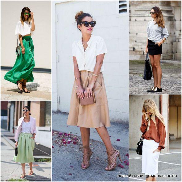 Плиссированные юбки миди длины носим с сандалиями или босоножками, сочетаем с сорочками или футболками, а если холодно, то с трикотажным джемпером. Джинсовые юбки носим с рубашками и топами из хлопка или льна. Мини-юбку носим с балетками или обувью на плоском каблуке