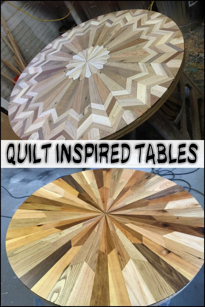 These Beautiful Quilt Inspired Tables Were Made From Salvaged Wood See More Of Her Woodworking FurnitureWoodworking