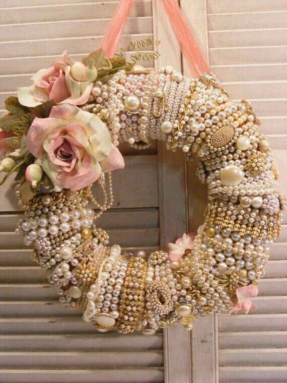 Shabby Chic | Romantic Wreath | Use Year Round Or During Pink Christmas | The Pearls, Bling & Flowers Are Stunning