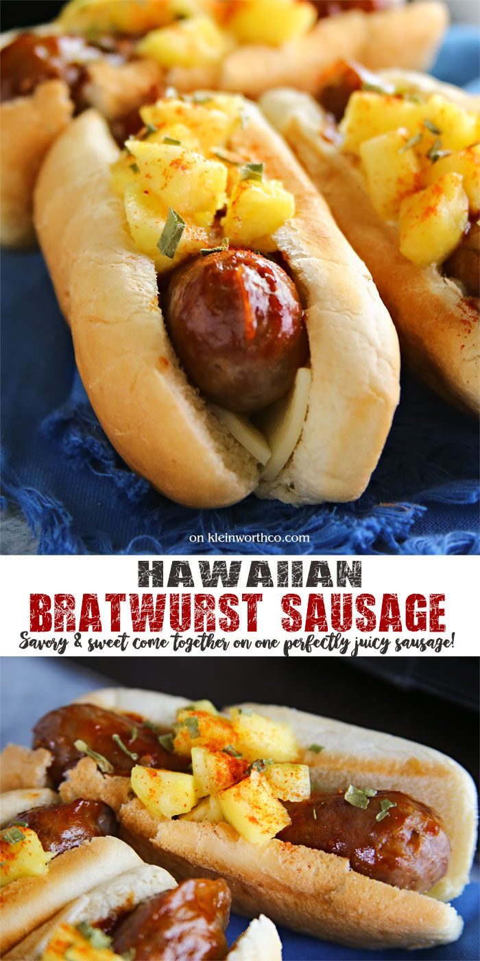 Hawaiian Bratwurst Sausage Recipe cooked to perfection. Perfect for Father's Day!  Brat lovers will swoon over this easy sweet & savory combo for dinner. (Sponsored by Johnsonville) @jvillesausage