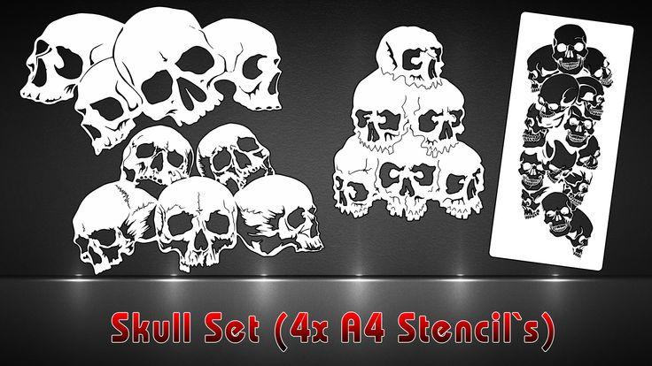 Airbrush Schablonen 4er SET Skull Schablonen | SK-Brush - Fachgeschäft und Custompaint Studio für Airbrush & Pinstriping