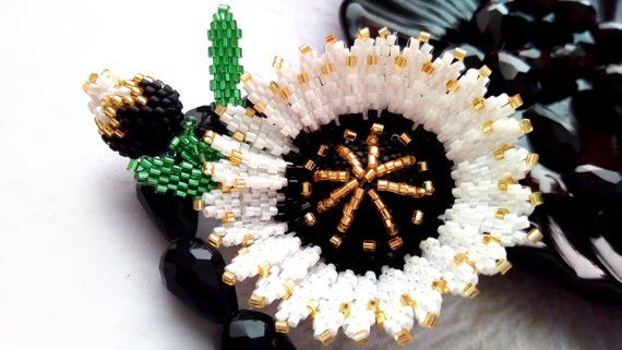 Beaded Flower Brooch Handmade Brooch White and Black Beaded Brooch Jewelry