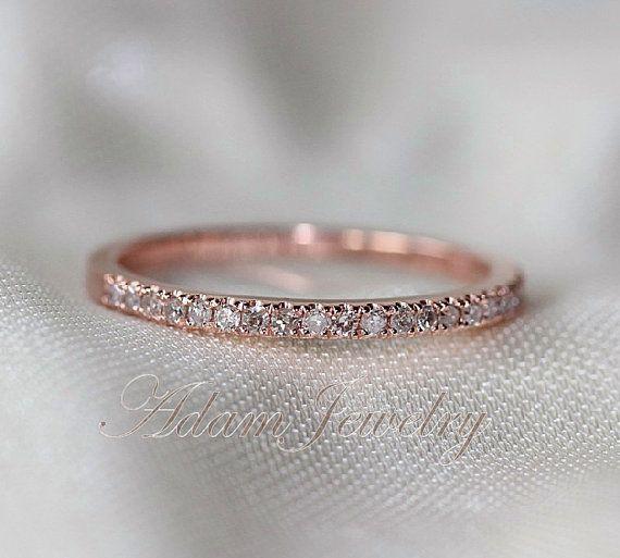 Thin Design 14k Rose Gold Wedding Ring Pave 0.17ct SI/H Diamond  Engagement Ring/ Matching Band/ Full Eternity Band on Etsy, $240.00