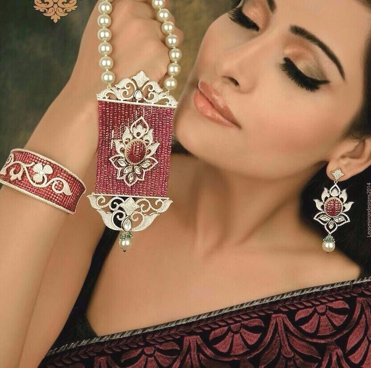 Indian Necklace Bollywood Style Kada CZ Ruby Stone Taiwan Pearl Ethenic Party  #SparshJewels