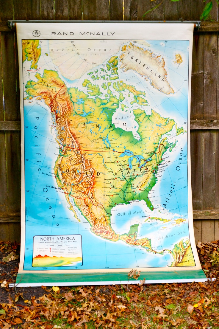 Map Of Usa Showing All States%0A Vintage Rand McNally Pull Down School Classroom Map United States   North  America