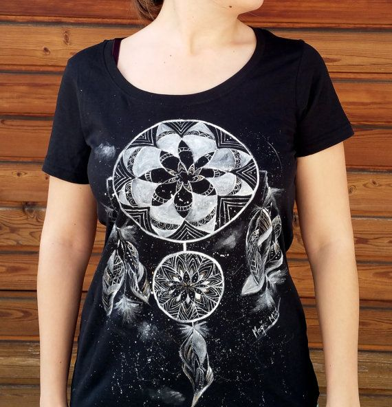 Dreamcatcher Grafitti T-shirt, Hand Painted Black Women's T-Shirt, Shaman Collection,Black Round-neck Cotton Shirt, Machine Washable