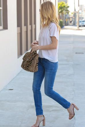 pretty blouse / denim / sandal heels / leopard