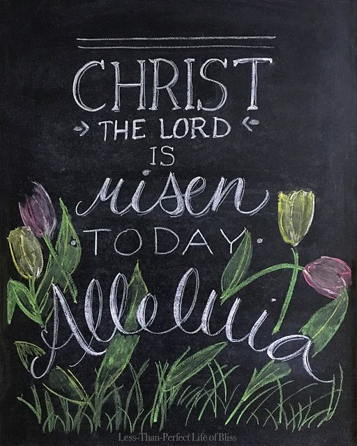 Christ Is Risen Free Easter Chalkboard Printable!   Less Than Perfect Life of Bliss   home, diy, travel, parties, family, faith