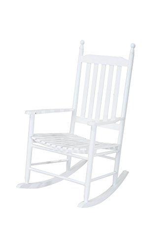 Sunjoy S-DNC1008PWD Safavieh Shasta White Wood Rocking Chair