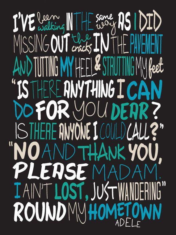 Adele Hometown Glory cartel canción Letras por LawandMoore en Etsy