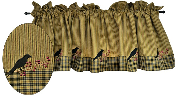 Primitive Crows Amp Berries Curtain Valance Mustard Ticking
