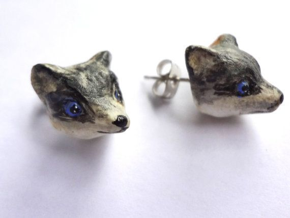 Wolf Post Earrings Studs Forest by LaLaForest on Etsy, €6.00