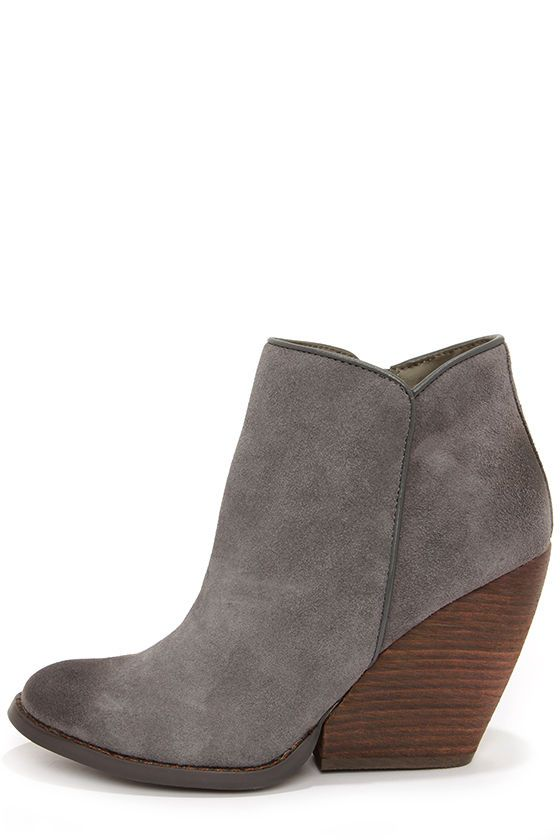 Charcoal Suede Leather Wedge Booties