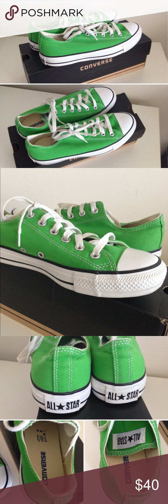 Classic Green Converse Cute green converse. Worn 2-3 times. But look like brand new. Including the original box. One part inside of shoe - stain line but I got it when I brought this shoes. Picture shown above. Size 9. Converse Shoes