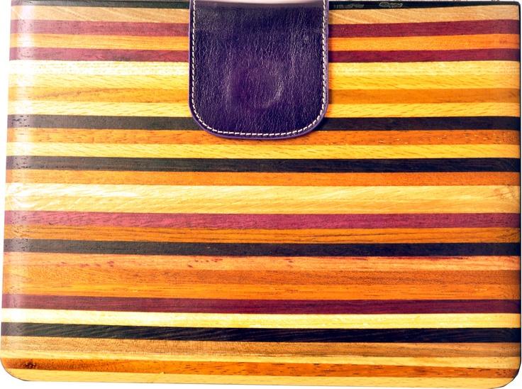 Striped wooden ipad case