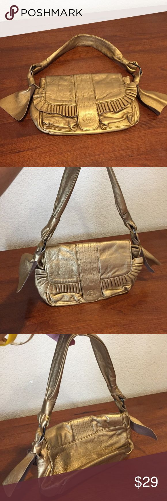 Armani exchange gold metallic leather ruffle bag Armani exchange gold metallic leather ruffle bag great preloved condition super soft leather A/X Armani Exchange Bags