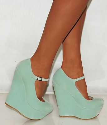 Ladies Women Suede Mint Green Blue Platform Wedges High Heels Shoes 3 8 | eBay
